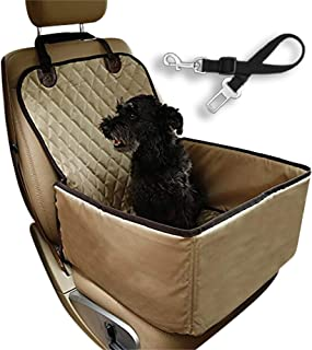 Flow.month Pet Front Seat Cover Pet Booster Seat,Deluxe 2 in 1 Dog Seat Cover for Cars Waterproof Dog Front Seat Cover Pet Bucket Seat Cover with Safety Belt