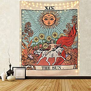 Tarot Tapestry The Sun Tarot Card Tapetsry Medieval Europe Mysterious Tapestries with Seamless Nails for Room Home Decor (Small)