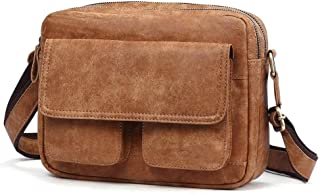 Vintage Genuine Leather Messenger Bags for Men Leather Travel, Leisure, Business Trip (Color : Brown, Size : S)