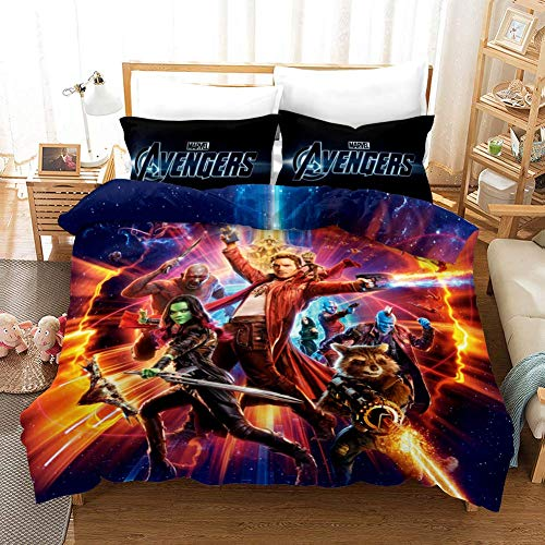HLSM The Avengers Endgame Print Duvet Cover Set with Two Pillow Cases,Microfibre 3D Digital Print 3-Piece Set?Marvel Superheroes Pattern Bedding Set for Kids & Adults (A09,King 220 x 240 cm)