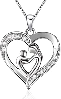 925 Sterling Silver Mother and Child Love Heart Pendant Necklace for Women Mom Birthday Gifts Christmas Gifts