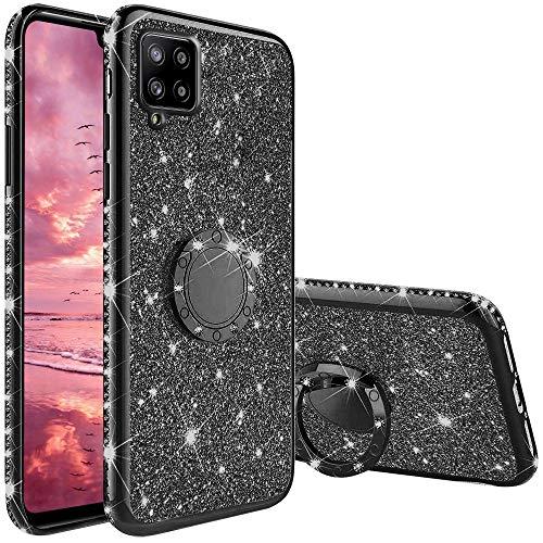 XTCASE Funda para Samsung Galaxy A42 5G Glitter, Diamante Brillo Carcasa 360 Grados Soporte Anillo Giratorio Resistente de Gel Silicona TPU Anti-Rasguños Bling Cover - Negro