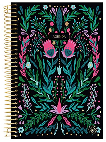 bloom daily planners UNDATED Spanish Calendar Year Day Planner - PassionGoal Organizer - MonthlyWeekly Agenda Book with Tabs January to December - 6 x 825 - Folky Floral