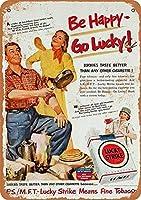 Shimaier 壁の装飾 メタルサイン 1951 Lucky Strike and Camping ウォールアート バー カフェ 縦20×横30cm ヴィンテージ風 メタルプレート ブリキ 看板