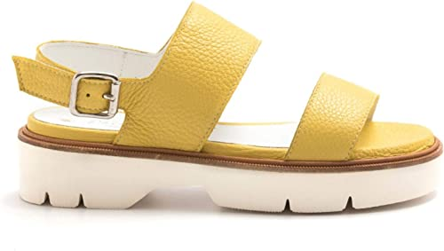 ALFrougeO GIANTIN - jaune Full Grain Leather Sandals - 6253CERVO jaune