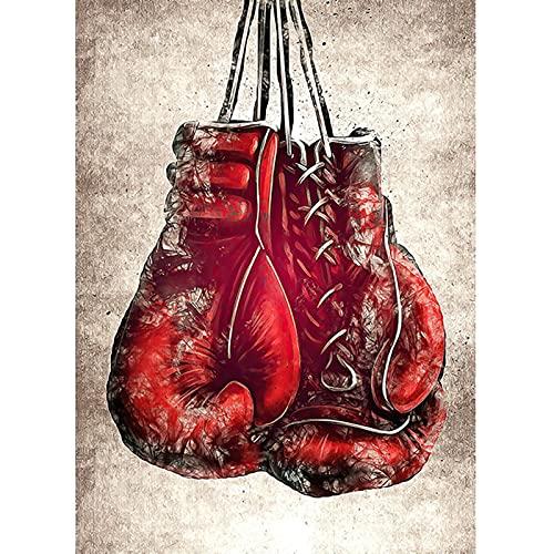 Cuadros de guantes de boxeo rojos Carteles e impresiones artísticos de graffiti moderno Pinturas en lienzo Cuadros de arte de pared para la decoración de la sala de estar Marco interior de 70x100cm