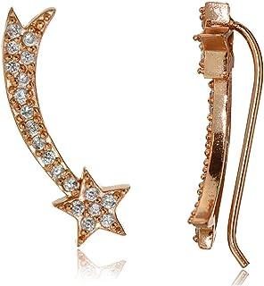 Sterling Silver Cubic Zirconia Shooting Star Crawler Climber Hook Earrings