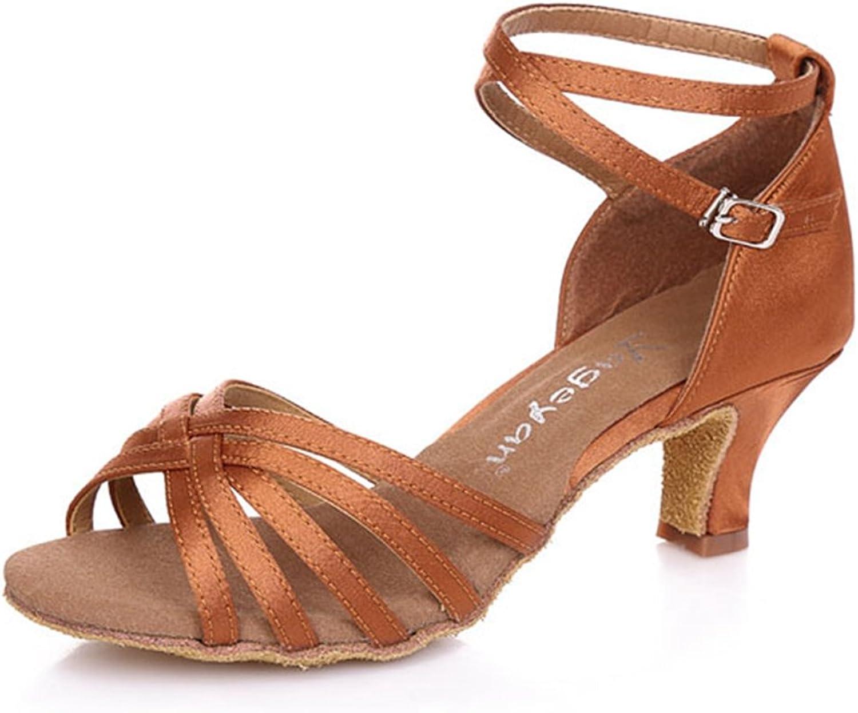 T-JULY Ladies Satin Latin Salsa Tango Dance Sandals for Women Sparkle Glitter Heels Ballroom Morden Wedding shoes