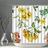 NJMRZX Duschvorhang mit Gänseblümchen-Motiv, Aquarellfarben, Blätter, grün-gelb, Dekostoff, Polyester, Badezimmer-Gardinen mit Haken, 183 x 183 cm