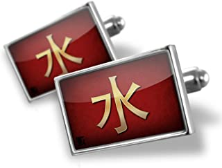 NEONBLOND Cufflinks Water Chinese characters, letter red/yellow