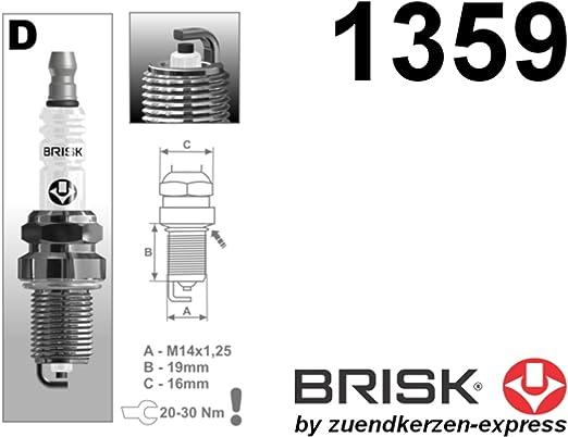 Brisk Super D17yc 1359 Zündkerzen 4 Stück Auto