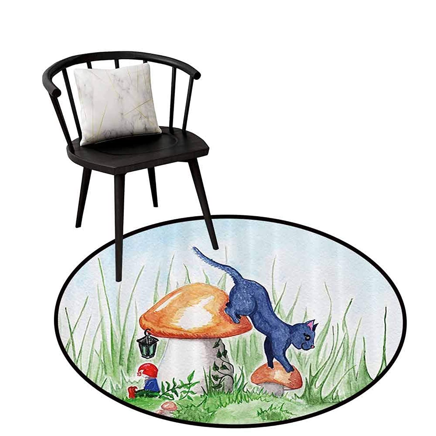 Non-Slip Round Rug Animal Decor Will not Touch The Floor Directly Little Cartoon Cat Black in a Mushroom Garden with Leaves and Flowers Art Multicolor D35(90cm) bhzsofimect400