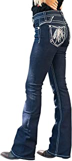 Women's Feather Embroidery Stretchy Bootcut Jeans