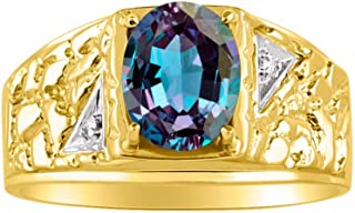 RYLOS Mens Nugget Ring with Oval Shape Gemstone & Genuine Sparkling Diamonds in 14K Yellow Gold Plated Silver .925-9X7MM Color Stone