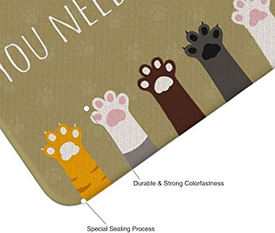 Cat Paw Kitchen Rug Dog Paw Cute Pink Gray Brown You Need My Help Rectangle Printing Decoration PVC Leather Non Skid Waterproof Oil Proof Easy to Clean Cushioned Anti Fautigue