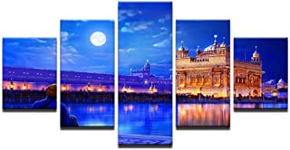 ZHFFYY Canvas Painting 5 Panel Home Decor Wall Art Modular Living Room Canvas Posters 5 Pieces Indian Golden Temple Paintings HD Printed Pictures Frame