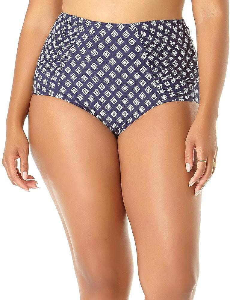 Anne Cole Women's Plus-Size High Waist Side Shirred Bikini Swim Bottom