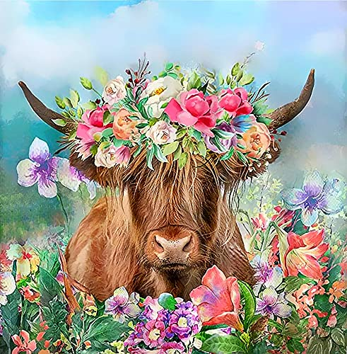 5D Diamond Painting Art Animal Highland Cow Garland Full Drill Diamond Painting by Number Kits for Adult Wall Decoration 35x35cm/14x14inch