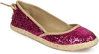 Women Glitter Round Toe Espadrille Lace Up Back Flat EB38 - Fuchsia