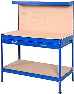 Goplus Steel Workbench Tool Storage Work Bench Workshop Tools Table W/Drawer and Peg Board (Blue)