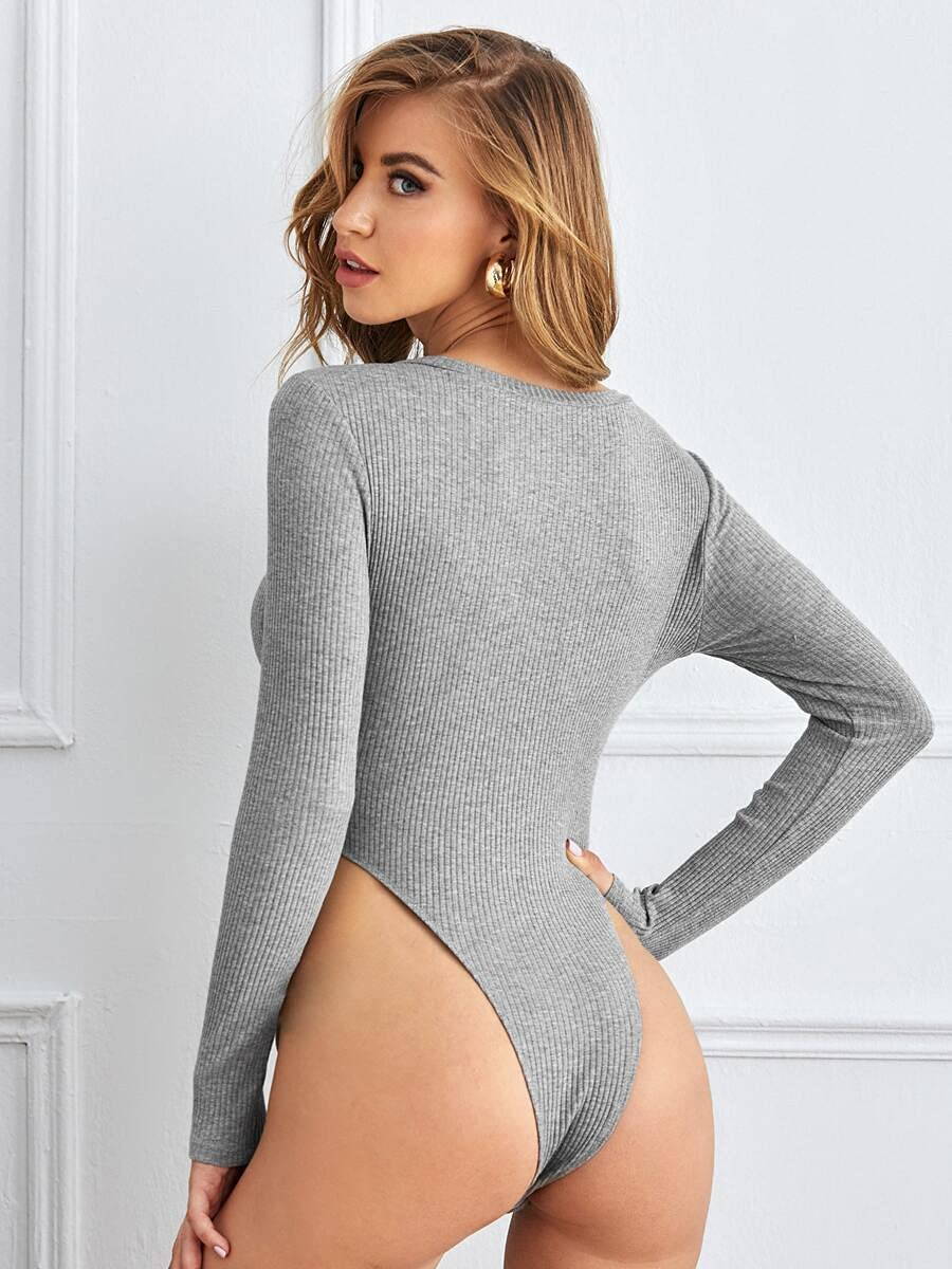 JYMBK Lace Jumpsuit Rib-Knit High Cut Bodysuit (Color : Grey, Size : L)