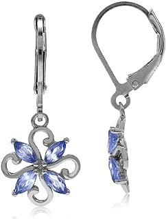 Genuine Tanzanite 925 Sterling Silver Victorian Style Flower Leverback Earrings