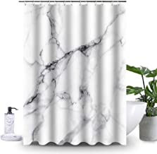 Uphome Wild Symbol Marble Pattern Bathroom Shower Curtain - White and Grey Polyester Fabric Bath Decorative Curtain Ideas (72