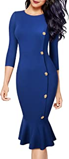 HOMEYEE Women Vintage Mermaid Button Business Party Bodycon Sheath Dress B492