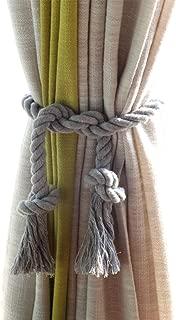 DEZENE Rope Curtain Tiebacks,2 Pack Handmade Natural Cotton Drapery Tie Bakes,Decorative Holdbacks Holders for Window Sheer and Blackout Panels,Grey