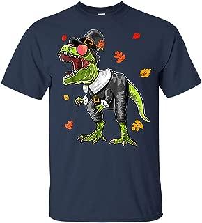 LeetGroupAU Dinosaur Thanksgiving Pilgrim Shirt T Rex Gifts for Boys T Shirt