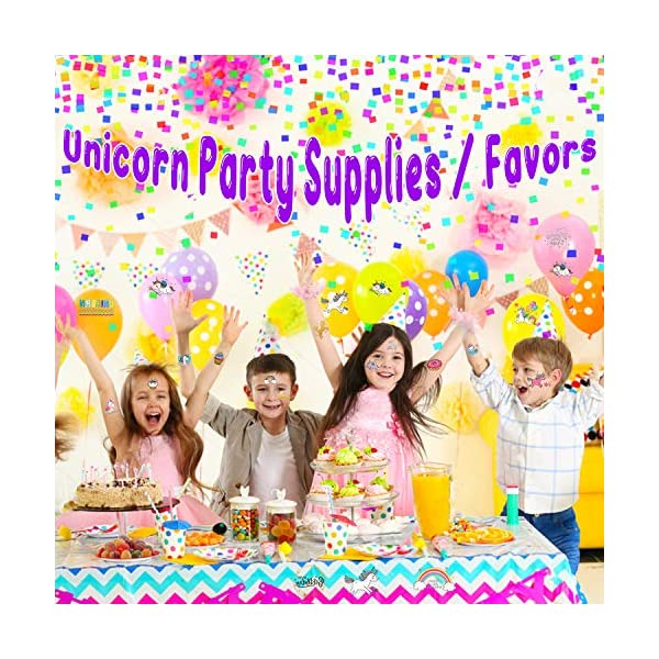 Partywind 30 Styles Metallic Glitter Temporary Tattoos for Kids,Unicorn Birthday Party Supplies Decorations for Girls… 8