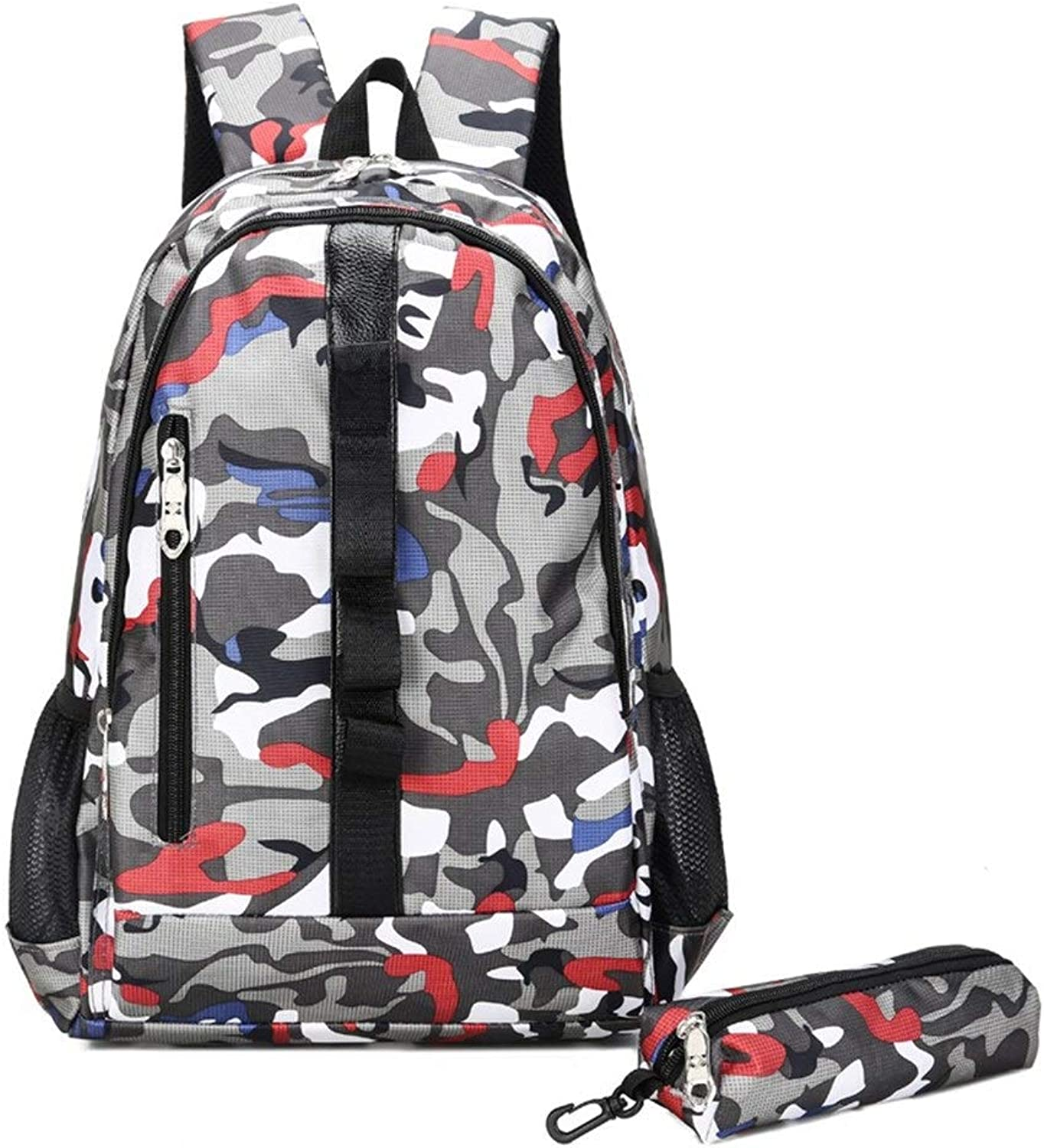 Camouflage Outdoor Travel Bag Men and Women Junior high School Students Backpack TwoPiece (color   A)