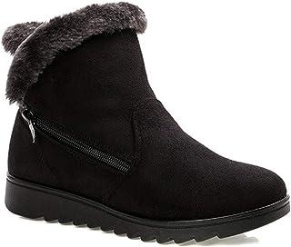 0daf31814c38d1 Femme Filles Chaussures Bottes de Neige Hiver avec Fourrure à Talons Plats  Chaude Boots Plates Chaussures