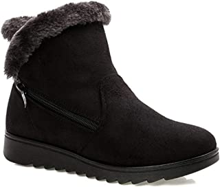 Warm Fur Lined Winter Snow Boots Womens Anti-Slip Ankle Booties Suede Flat Shoes with Zip Size