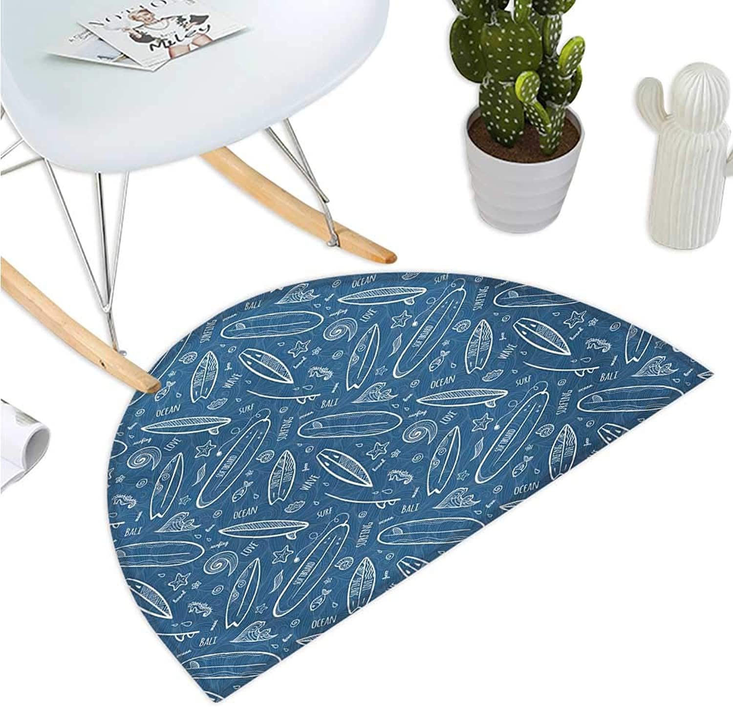 Surfboard Semicircular Cushion bluee Waters Oceanic Elements Waves Swirls Doodle White Outlines Hobby Fun Times Entry Door Mat H 51.1  xD 76.7  bluee White