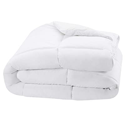 AmazonBasics Down Alternative & Microfiber Comforter, Single (64 x 88 Inches), White, Pack of 1