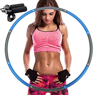 REDSEASONS Hula Hoop for Adults,Lose Weight Fast by Fun Way to Workout,Easy to Spin, Premium Quality and Soft Padding Hula Hoop,with Free Accessory Skipping Rope (Blue)