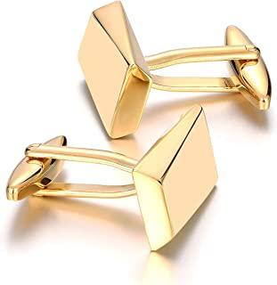 Gold/Black Classic Cufflinks for Men Stainless Steel Wedding Business Gifts