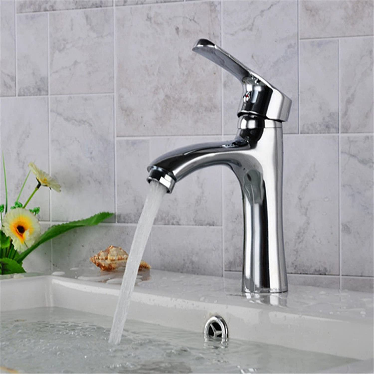 Lalaky Taps Faucet Kitchen Mixer Sink Waterfall Bathroom Mixer Basin Mixer Tap for Kitchen Bathroom and Washroom Copper Single Hole Hot and Cold Ceramic Valve Core