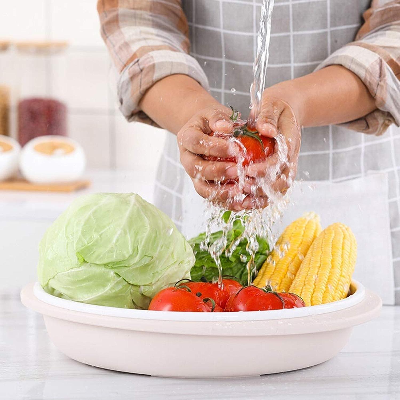AYHa Bols de fruits Ménage Double bols de fruits Vidangez un panier à fruits rond en plastique Salon en plastique Plateau de rangeHommest de cuisine Présentoir de fruits, Blanc
