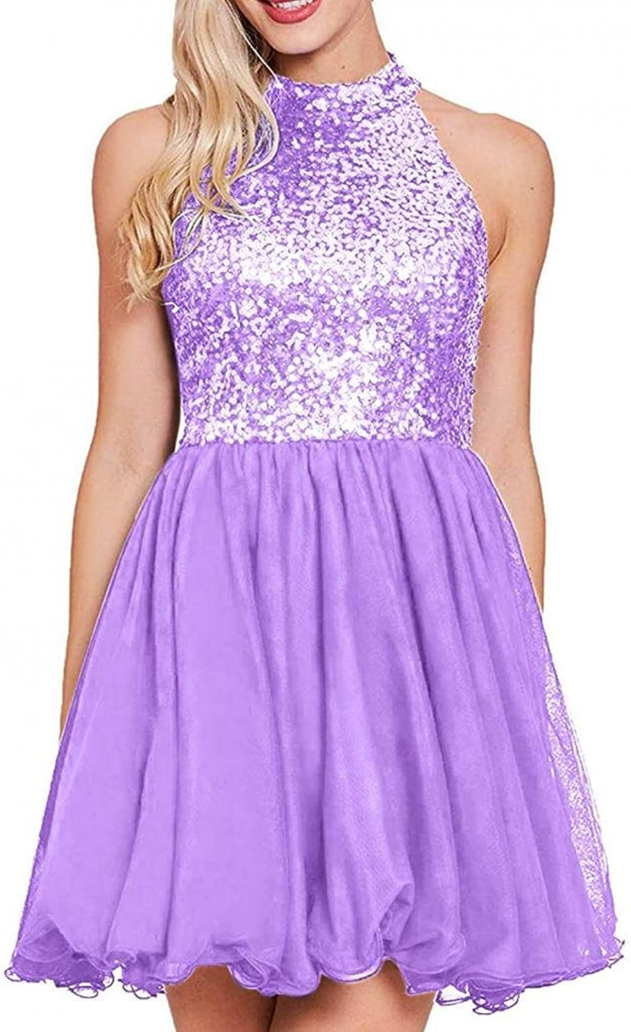Dannifore High Neck Sequin Homecoming Dresses Open Back Short Cocktail Party Dress
