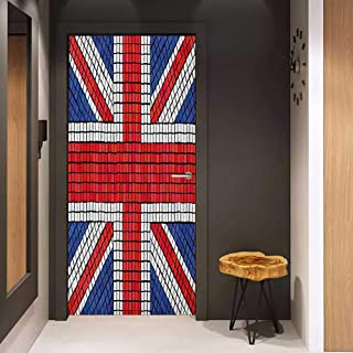 Onefzc Sticker for Door Decoration Union Jack Mosaic Tiles Inspired Design British Flag National Identity Culture Door Mural Free Sticker W31 x H79 Royal Blue Red White