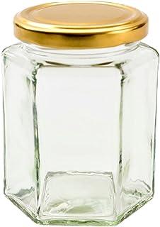 Nutley's 12 Hexagonal Glass Jam, Chutney, Preserve Jars + Gold Lids (280ml)