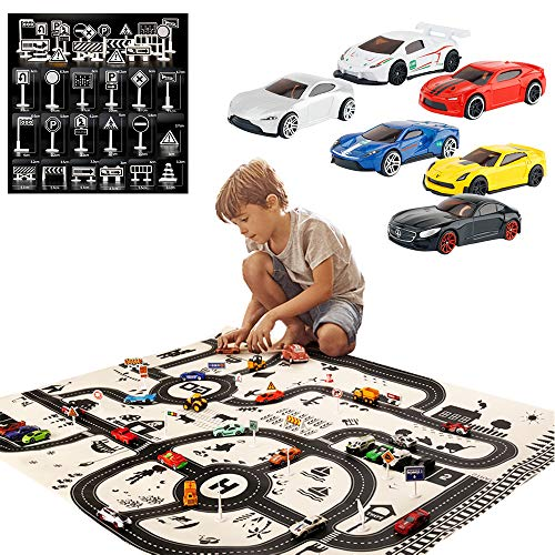 Ralos Cars Playmat, Washable Kids Road Traffic Carpet Play-mat, Portable City Life Map Carpet, Children Activities Floor Squares Mat with Cars Kit for Both Indoor and Outdoor