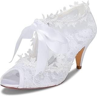 Women's Bridal Shoes 5949419 Peep Toe Cone Heel Lace Satin Pumps Ribbon Tie Wedding Shoes