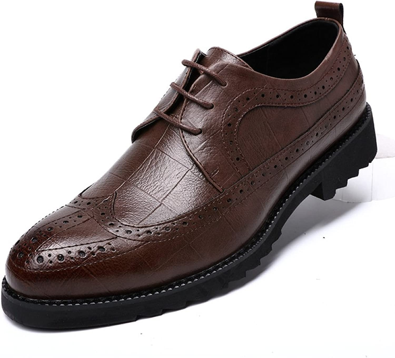 LQV Bullock Male shoes Carved England Dress Business shoes Casual shoes with Rubber Soles Non-Slip Comfort