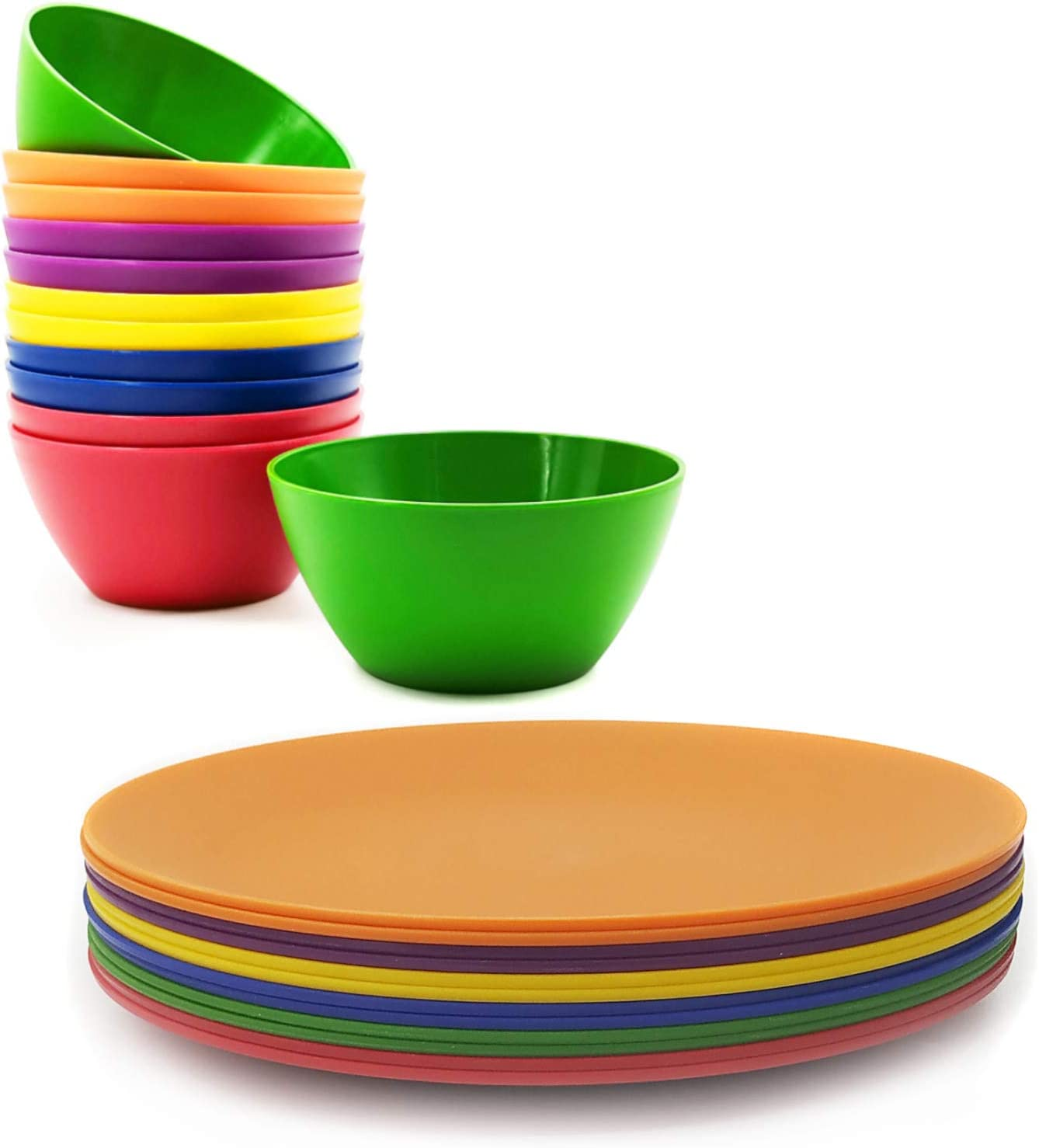 Unbreakable 24-piece gift Plastic Dinnerware set Reusable and Plates NEW before selling