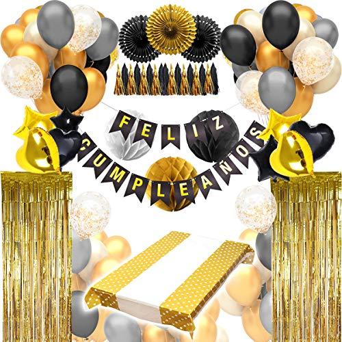 """Decoracion Cumpleaños (123 PIEZAS) - Pack Incluye Pancarta"""" Feliz Cumpleaños"""", Globos, Guirnaldas, Banderines, Pompones, Cortinas y Mucho Mas… (Español Color Negro)"""