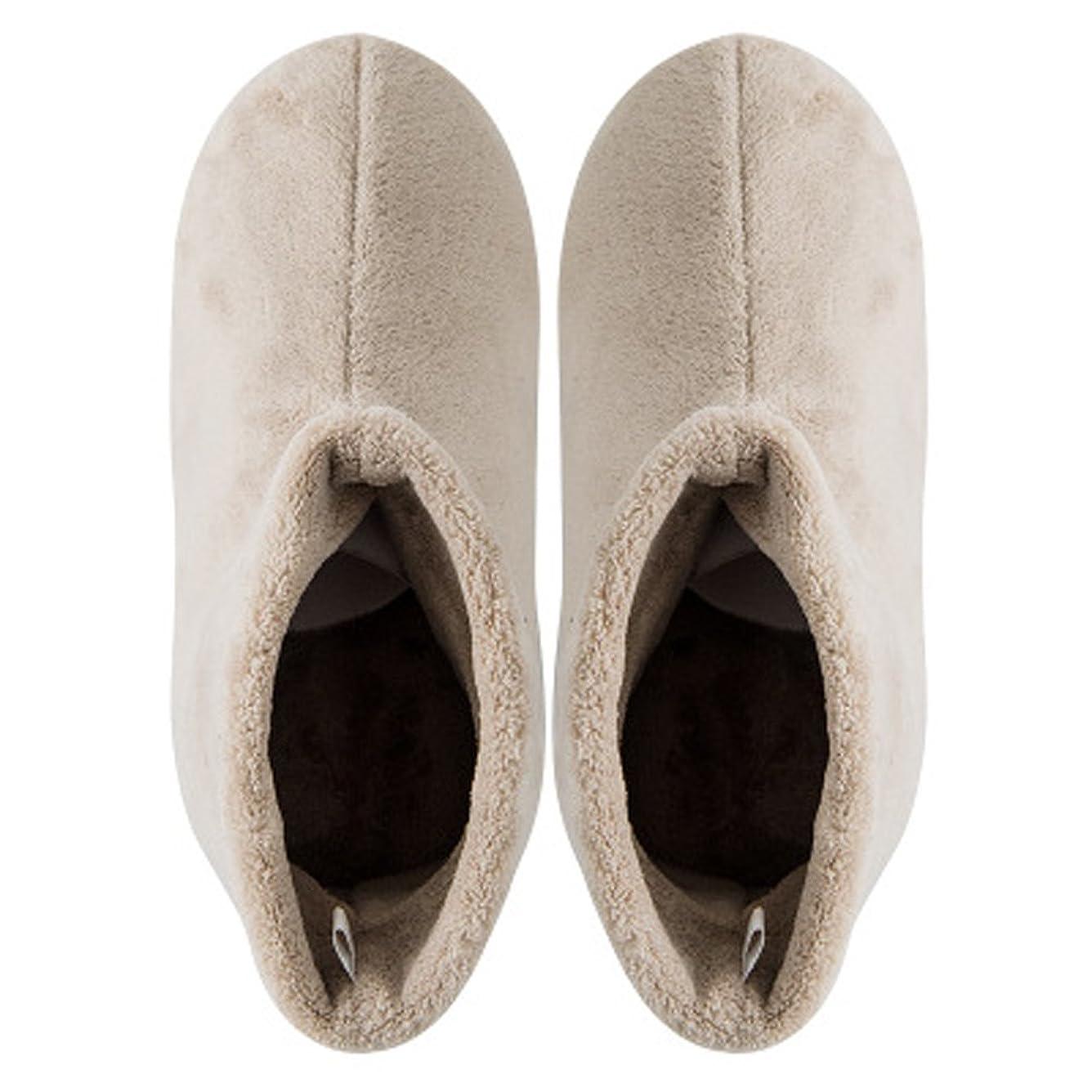 ピボット屋内で哀れなKanemt ルームブーツ ルームシューズ もこもこ 防寒 暖かい 北欧 靴下 来客用 男女兼用 冬用 無地 シンプル ベージュ S