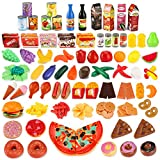 UNEEDE Play Food Set Kids Play Kitchen Food Toy 139pcs Pretend Toddler Kid Play Food Large Fake Plastic Food Toy Set Toy Kitchen Food Outdoor Plat Fast Food Item Accessories Safe for Kid, Toddler